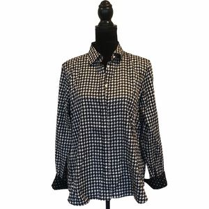 Chaps petitie no iron  houndstooth button front